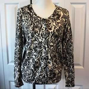 Talbots Large Cardigan Sweater Black Metallic
